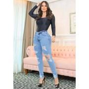 Calça Jeans Premium Modelador Destroyed - Empina Bumbum