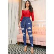 Calça Jeans Premium Modelador Destroyed - Empina Bumbum e Comprime a Barriga