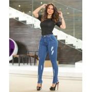 Calça Jeans Premium Modelador Destroyed Escura - Empina Bumbum