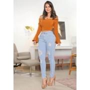 Calça Jeans Premium Modelador Destroyed Lavada - Empina Bumbum e Comprime Barriga