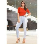 Calça Jeans Premium Modelador Detalhe nas Pernas - Empina Bumbum e Comprime Barriga