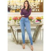 Calça Jeans Premium Modelador Lavada com Cinto - Empina Bumbum