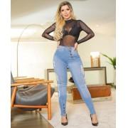Calça Jeans Premium Modeladora Botões - Empina Bumbum e Comprime Barriga