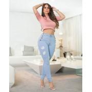 Calça Jeans Premium Modeladora Destroyed Botões - Empina Bumbum