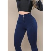 Calça Legging Canelada com Ziper Azul