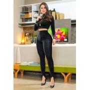 Calça Legging Modeladora 2 em 1 Preta - Empina Bumbum e Comprime a Barriga