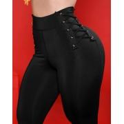 Calça Legging Modeladora Amarração Lateral Preta  - Empina Bumbum e Comprime a Barriga