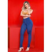 Calça Legging Modeladora com Zíper Azul - Empina Bumbum e Comprime a Barriga