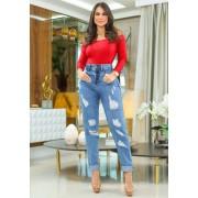 Calça Mom Jeans Premium Cintura Alta Destroyed 01
