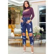 Calça Mom Jeans Premium Cintura Alta Rasgos