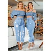 Calça Mom Jeans Premium Destroyed com Cinto Clara