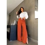 Calça Pantalona com Fenda Terracota 01