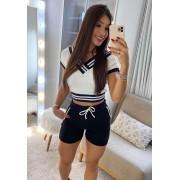 Conjunto de Cropped e Shorts Preto e Branco 01