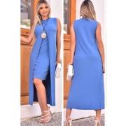 Conjunto de Vestido Tubinho + Sobreposição Azul