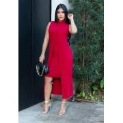 Conjunto de Vestido Tubinho + Sobreposição Vermelho