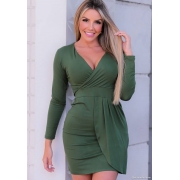 Vestido Curto Manga Longa Decote V Verde