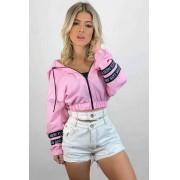 Jaqueta Bomber Corta Vento com Capuz Rosa