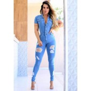 Macacão Jeans Premium Destroyed Claro