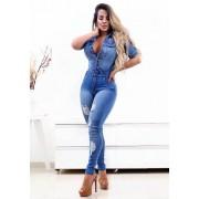 Macacão Jeans Premium Destroyed Lavado