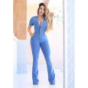 Macacão Jeans Premium Flare Claro