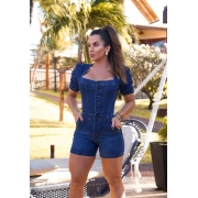 Macaquinho Jeans Premium com Botões Escuro