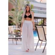 Saída de Praia Calça Pantalona Branca