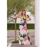 Vestido Longo com lastex Floral Preto