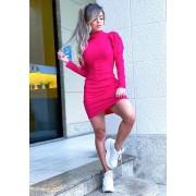Vestido Curto Gola Alta Manga Bufante Canelado Pink