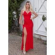 Vestido de Festa Longo Alça com Fenda Vermelho