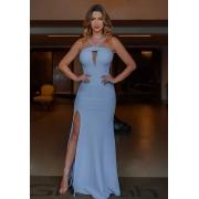 Vestido de Festa Longo Alça V em Crepe Azul Serenity
