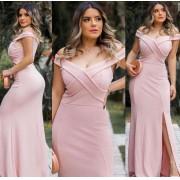 Vestido de Festa Longo com Fenda Cruzado Rosê