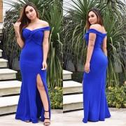 Vestido de Festa Longo com Fenda Trançado Azul