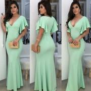 Vestido de Festa Longo Decote Profundo Verde Tiffany