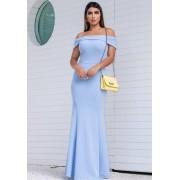 Vestido de Festa Longo Ombro a Ombro Azul Serenity