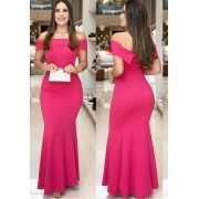 Vestido de Festa Longo Ombro a Ombro Pink