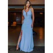 Vestido de Festa Longo Trançado com Fenda em Crepe Azul Serenity