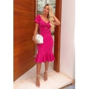 Vestido de Festa Midi Peplum Manga Bufante Pink