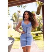 Vestido Jeans Premium com Zíper Claro