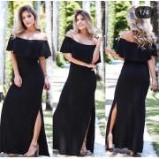 Vestido longo ciganinha com fenda lateral preto