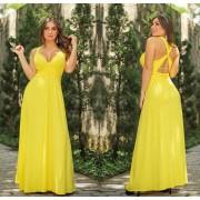 Vestido Longo Cruzado nas Costas Amarelo