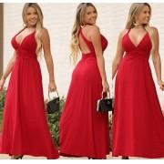 Vestido Longo Cruzado nas Costas Vermelho