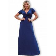 Vestido Longo Decote V Azul