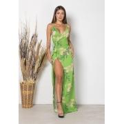 Vestido Longo Envelope Folhas Verde