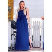 Vestido Longo Fenda com Bolso Azul
