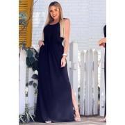Vestido Longo Fenda com Bolso Preto
