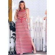 Vestido Longo Fenda Listrado com Bolso Vermelho
