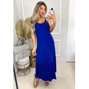 Vestido Longo Peplum Alça Azul