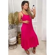 Vestido Longo Peplum Alça Pink
