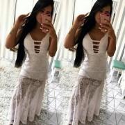 Vestido longo viscolycra  arrastão branco
