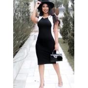 Vestido Midi Afina Cintura Preto e Branco